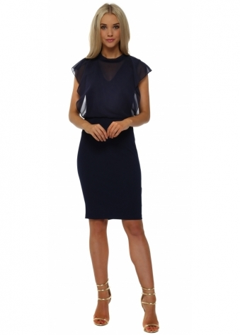 Navy Blue Chic Chiffon Overlay Pencil Dress