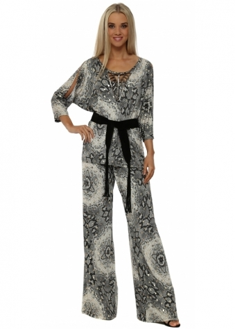 Grey & Gold Snake Print Palazzo Trousers & Top