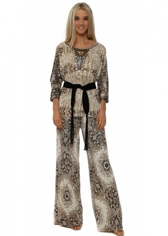My Story Gold Snake Print Palazzo Trousers & Top
