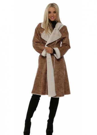 Mocha Faux Shearling Knee Length Coat