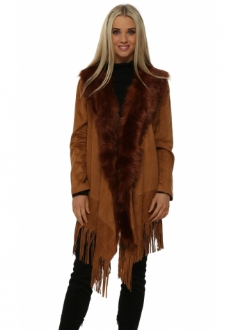 Tan Suedette Fringe Jacket With Faux Fur Collar