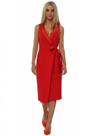 Kaye Red Tuexdo Wrap Dress