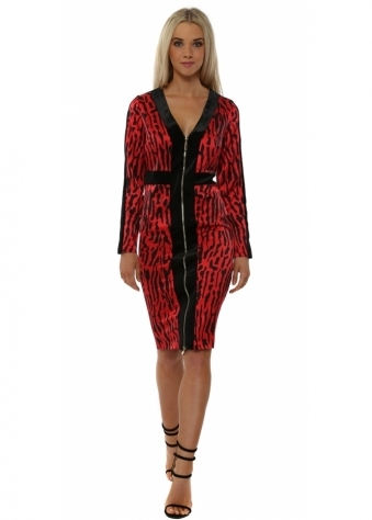 Rebecca Red Leopard Panel Midi Dress