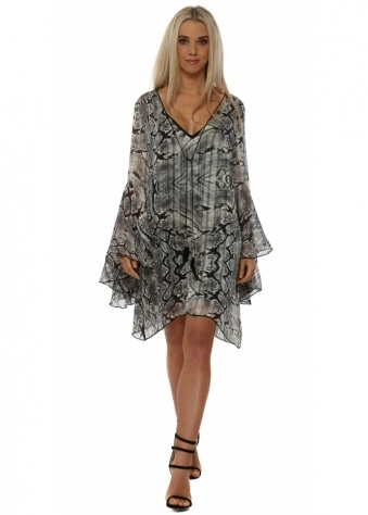 Grey Snakeskin Print Chiffon Tunic Dress