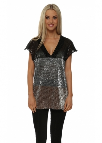 Just M Paris Metallic Ombre Sequinned Top