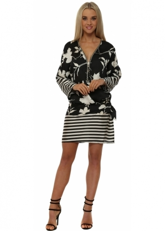 Monochrome Floral Tie Side Zip Neck Tunic Dress