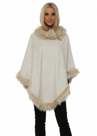 JayLey Ivory Faux Fur Faux Suede Polo Poncho