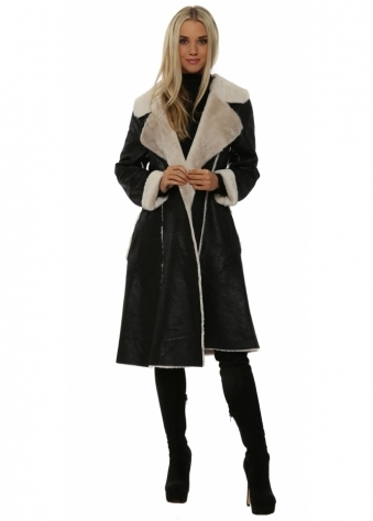 Black Faux Shearling Knee Length Coat