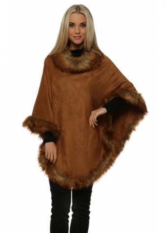 Tan Faux Fur Faux Suede Polo Poncho