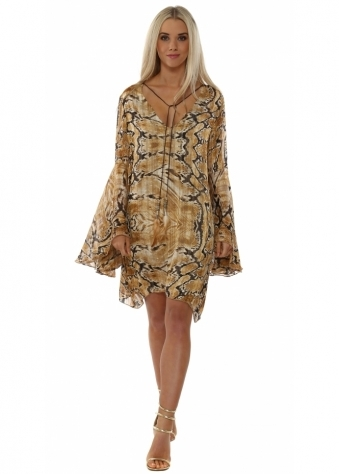 Amber Snakeskin Print Chiffon Tunic Dress