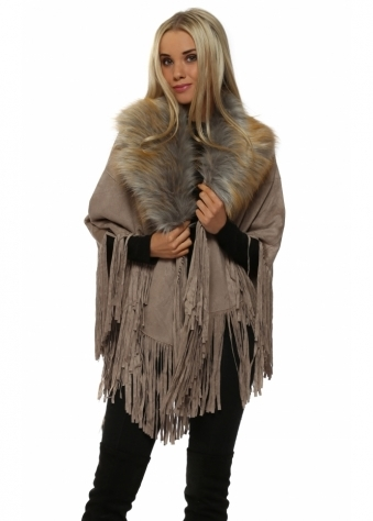 Mocha Suedette Fringe Cape With Faux Fur Collar