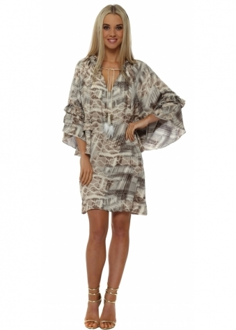 Grey Satin Abstract Print Tunic Dress
