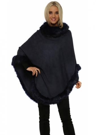 JayLey Navy Blue Faux Fur Faux Suede Polo Poncho