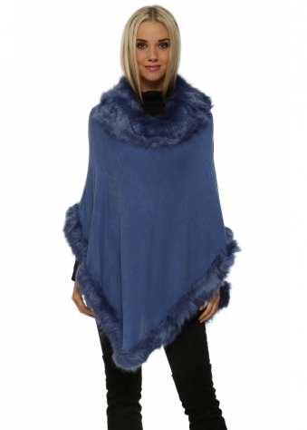 JayLey Blue Faux Fur Fine Wool Polo Poncho
