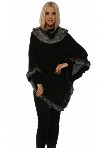 Black Faux Fur Fine Wool Polo Poncho