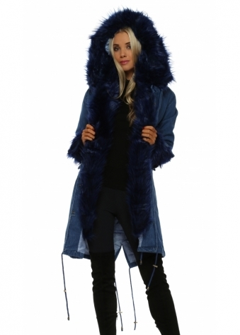 Denim Hooded Parka Lined With Blue Luxe Faux Fur