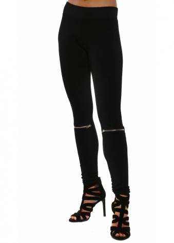 Vanessa Zip Detail Black Jersey Leggings