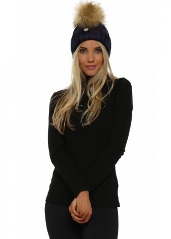 Navy Blue Chunky Knit Detachable Faux Fur Bobble Hat