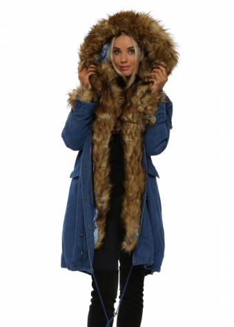 Denim Hooded Parka Lined With Luxe Faux Fox Fur