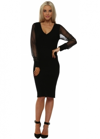 Premium Pippa Chiffon Sleeve Pencil Dress