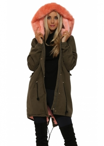 Khaki Hooded Parka Lined With Peach Luxe Faux Fur