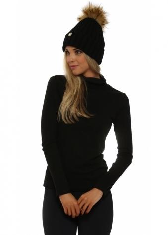 Black Chunky Knit Detachable Faux Fur Bobble Hat