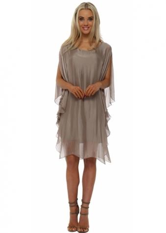 Taupe Silk Waterfall Tunic Dress