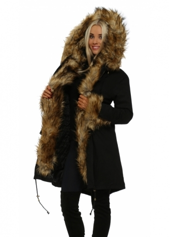 Black Hooded Parka Lined With Tonal Luxe Faux Fur