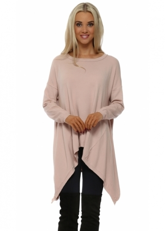 Baby Pink Soft Knit Button Back Tunic Jumper
