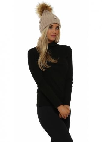 Beige Chunky Knit Detachable Faux Fur Bobble Hat