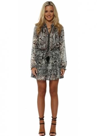 Grey Snakeskin Print Chiffon Ruffle Mini Dress