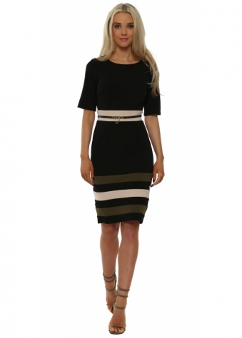 Black & Green Colour Block Stripe Pencil Dress