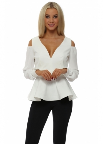 Alexis Winter White Cold Shoulder Peplum Top
