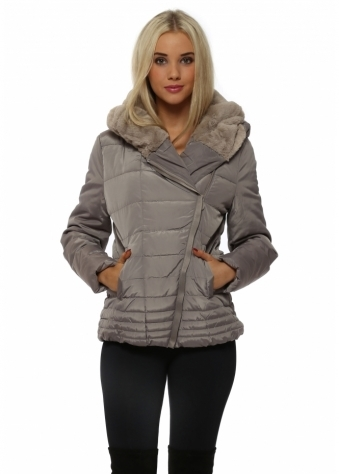 Grey Faux Fur Hooded Quilted Jacket