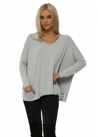 Pammy Slouch Jersey Pockets Top In Putty