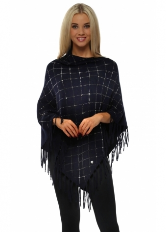 Navy Sparkling Studded Knitted Asymmetric Poncho
