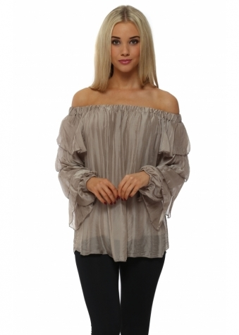 Taupe Silk Off The Shoulder Ruffle Sleeve Top