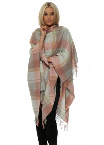 Baby Pink & Mint Check Blanket Cape