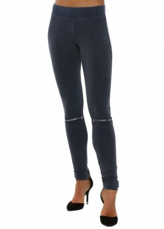 Vanessa Zip Detail Wet Slate Jersey Leggings