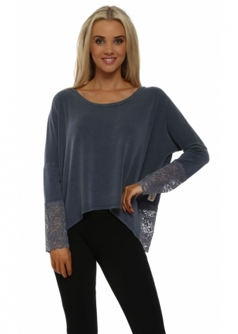 Eve Wet Slate Enchanted Lace Long Sleeved Top