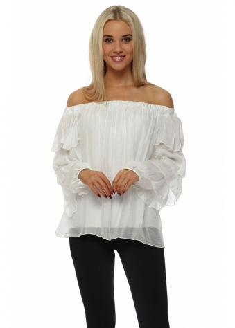 White Silk Off The Shoulder Ruffle Sleeve Top