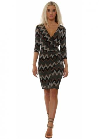 Khaki Zig Zag Print Long Sleeve Wrap Dress
