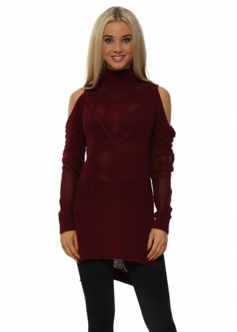 Burgundy Polo Neck Cold Shoulder Hole Knit Jumper