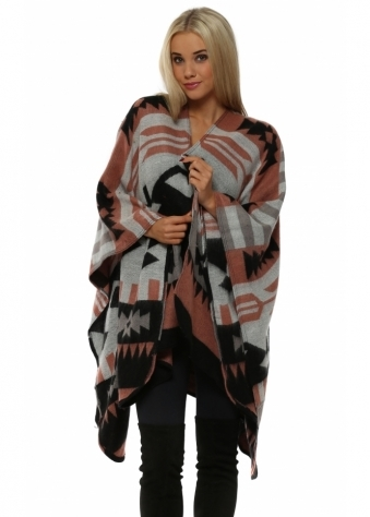 Peach Aztec Print Blanket Cape