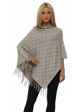 Beige Sparkling Studded Knitted Asymmetric Poncho