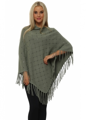 Green Sparkling Studded Knitted Asymmetric Poncho