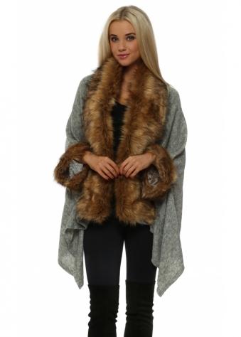 Grey Fine Knit Asymmetric Poncho With Fox Faux Fur Trim
