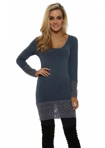 Lauren Wet Slate Long Sleeve Lace Hem Top