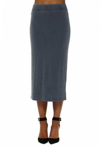 Wet Slate Jersey Midi Skirt