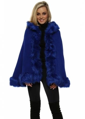 Cobalt Blue Hooded Faux Fur Swing Cape